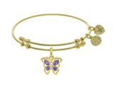 Angelica Collection Brass With White Butterfly Charm With Purple+white CZ On Yellow Bangle style: GEL1391