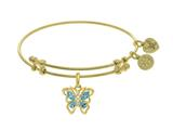 Angelica Collection Brass With Yellow Butterfly Charm With Lite Blue +center White CZ On Yellow Bangle style: GEL1393