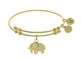 Angelica Collection Brass With Yellow Elephant Charm With White CZ On Yellow Bangle style: GEL1395