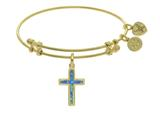 Brass With Yellow Cross Charm With Created Opal On Angelica Collection Bangle style: GEL1403