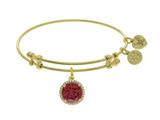 Angelica Collection Brass With On White July Birth Month On Yellow Bangle style: GEL1421