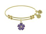 Angelica Collection Brass With Yellow 5-heart Flower Charm With Purple CZ+small Center White CZ On Yellow Bangle style: GEL1431