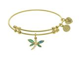 Angelica Collection Brass With Yellow Created Opal Dragonfly Charm On Yellow Bangle style: GEL1441