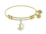Angelica Collection Brass With Yellow+white Cat Sitting On 1/4 Moon Charm On Yellow Bangle style: GEL1448
