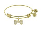 Brass With Yellow Finish Charm With White CZ On Ye Llow Angelica Collection Bangle Bone style: GEL1542