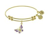 Angelica Collection Brass With Yellow Butterfly Charm With White To Pink Fading Enamel On Yellow Bangle style: GEL1765