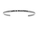 "Intuition Stainless Steel ""life Is Beautiful""Cuff Bangle style: INT5029"