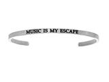 "Intuition Stainless Steel ""music Is My Escape""Cuff Bangle style: INT5033"