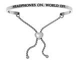 "Intuition Stainless Steel ""headphones On.world Off.""adjustable Friendship Bracelet style: INT7013"