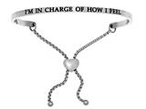 "Intuition Stainless Steel ""i""m In Charge Of How I Feel""adjustable Friendship Bracelet style: INT7026"