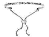 "Intuition Stainless Steel ""love You To The Moon And Back""adjustable Friendship Bracelet style: INT7034"