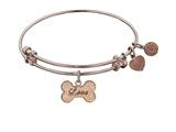 "Angelica Collection Non-antique Pink Stipple Finish Brass ""bone W/love "" Expandable Bangle style: PGEL1015"