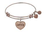 "Angelica Collection Non-antique Pink Stipple Finish Brass ""love W/paw"" Expandable Bangle style: PGEL1028"