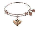 "Angelica Collection Antique Pink Smooth Finish Brass ""cherish"" Expandable Bangle style: PGEL1085"