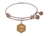 "Angelica Collection Antique Pink Stipple Finish Brass ""mom"" On 7-leaf Flower Like Charm Expandable Bangle style: PGEL1213"