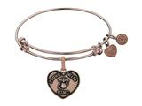 Angelica Collection Brass with Pink Finish Proud Wife U.S. Marine Corps Heart Shaped Expandable Bangle style: PGEL1280