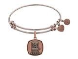 Angelica Collection Brass with Pink Finish U.S. Army Wife Expandable Bangle style: PGEL1308