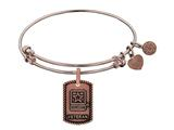 Angelica Collection Brass with Pink Finish U.S. Army Veteran Expandable Bangle style: PGEL1318