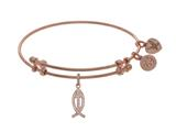 Angelica Collection Brass With Pink Christian Fish Charm With White CZ On Pink Bangle style: PGEL1399