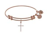 Angelica Collection Brass With Pink Cross Charm With White CZ On Pink Bangle style: PGEL1404