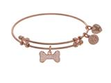 Brass With Pink Finish Charm With Whtie CZ Bone On Pink Angelica Collection Bangle style: PGEL1542