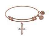 Brass With Pink Finish Cross Charm On Pink Angelica Collection Bangle style: PGEL1619