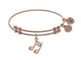 Brass With Pink Music Sign Charm On Pink Angelica Collection Bangle style: PGEL1722