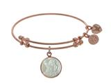 Brass With Pink Round Angel Charm With Created Mop On Pink Angelica Collection Bangle style: PGEL1746