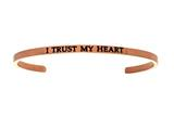 "Intuition Stainless Steel Pink Finish ""i Trust My Heart""Cuff Bangle style: PINT5016"