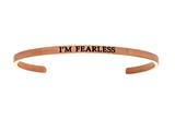 "Intuition Stainless Steel Pink Finish ""i'm Fearless""Cuff Bangle style: PINT5019"