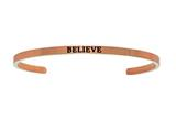 "Intuition Stainless Steel Pink Finish ""believe""Cuff Bangle style: PINT5040"