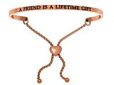 "Intuition Stainless Steel Pink Finish ""a Friend Is A Lifetime Gift""adjustable Friendship Bracelet style: PINT7000"