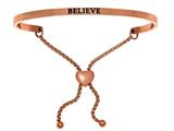 "Intuition Stainless Steel Pink Finish ""believe""adjustable Friendship Bracelet style: PINT7054"