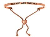 "Intuition Stainless Steel Pink Finish ""friends Are Forever""adjustable Friendship Bracelet style: PINT7073"