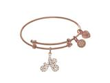 Angelica Collection Brass With Pink Finish Charm Initial A On Pink Ang Lica Tween Bangle style: PTGEL9050