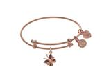 Angelica Collection Pink Finish Expandable Tween Brass Bangle With Ena Mel Butterfly Charm In Pink Finish style: PTGEL9107