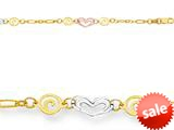 10 Inches 4 Hearts Adjustable Ankle Bracelet style: 460006