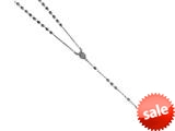 Finejewelers 26 inches Silver Black Rhodium Rosary Bead Necklace style: 460044