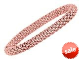 Sterling Silver 7.25 Inch Pink Plated Stretchy Bracelet style: 460048