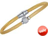 Sterling Silver 7.5 Inch Yellow Plated Hollow Wire Bead Bracelet With Magnetic Clasp style: 460086