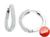 Round Hoop Earrings with Half White Crystals and Half Polished Finish style: 460136