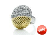 Finejewelers Fancy Oval Cocktail Ring with Textured Yellow Tone Plating with CZ style: 460137