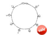 Finejewelers 10 Inches 4 Keys and 4 Hearts Ankle Bracelet style: 460161