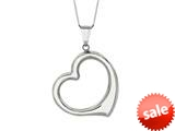 14K White Gold Open Heart Pendant on a 18 Inch Chain style: 460191