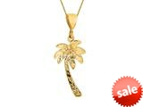 14K Yellow Gold Palm Tree Pendant Necklace on a 18 Inch Chain style: 460193
