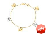 14K Yellow Gold 7.25 Inch Two Tone Dangle Multi Butterfly Bracelet with Pear Shape Clasp style: 460231