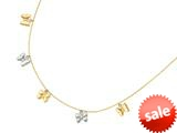 14K Yellow Gold 18 Inch Two Tone Dangle Multi Butterfly Necklace with Pear Shape Clasp style: 460262