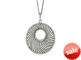 Ruthenium and Rhodium Plated Black Web Like Open Shape Pendant with Cubic Zirconia on 18 inch Sterling Silver Chain style: 460277