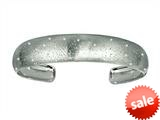 Finejewelers Rhodium Plated 1.5 Inch Textured Stardust Bright Cut Cuff Bangle style: 460280
