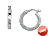 Finejewelers Rhodium Plated Textured Stardust Bright Cut Roud Hoop Earrings style: 460284